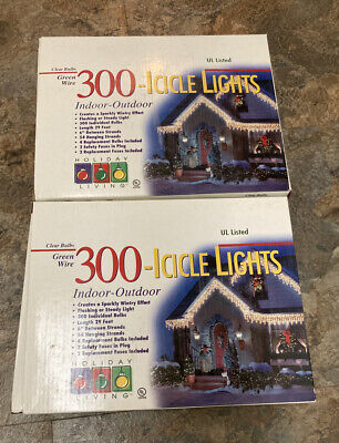 2 Holiday Living 300 Icicle Lights Clear Bulbs Green Wire Indoor/Outdoor 29 Feet