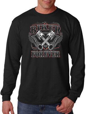 Men's Biker Forever Long Sleeve Black T Shirt Live to Ride Motorcycle Chopper