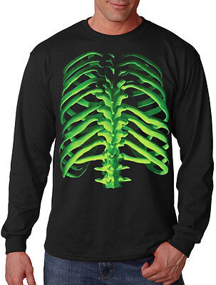 Glowing Skeleton - Men's Glowing Skeleton Bones Long Sleeve Black T Shirt Scary Dead Halloween Tee