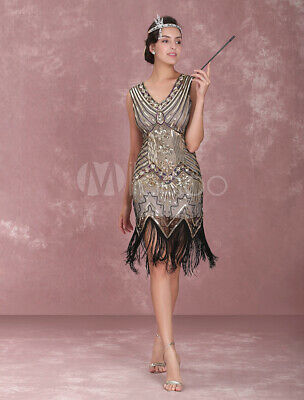 Vintage Costume Apricot Sequined Tassels Flapper Girl Dress Halloween New Size 2