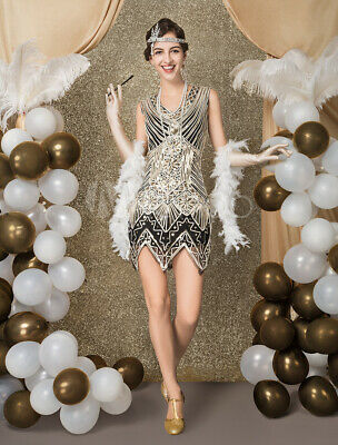 Halloween Costumes Black Sequin Shorts (Great Gatsby Women's Sequined Zigzag Cut Short Dress Halloween New M, US)