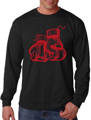 Long Sleeve Black Gloves (Men's Sketch Boxing Gloves Long Sleeve Black T Shirt MMA Kickboxing Fighting)