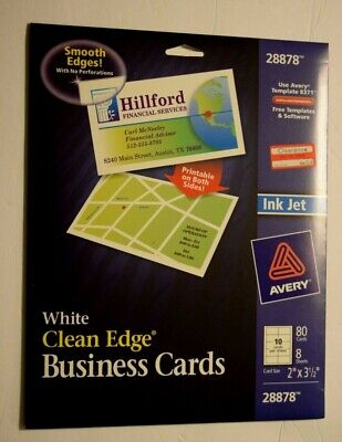 Avery White Clean Edge Business 80 Cards Paper 2 X 3.5 Card Size New