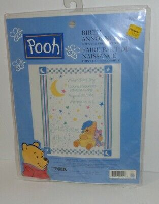 Disney Winnie the Pooh Counted Cross Stitch Kit Sweet Dreams Birth Announcement Winnie The Pooh Birth Announcements