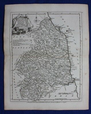 Original antique county map NORTHUMBERLAND, J.Ellis, c.1765