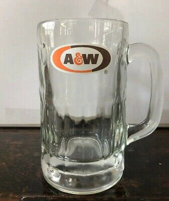 VINTAGE A&W ROOT BEER LOGO MUG - All American Food - 6 Tall, Heavy Glass,