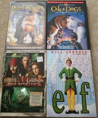 Puss In Boots, Cats & Dogs, Pirates Of The Caribbean Dead Man's Chest & Elf DVD (Pirates Of The Caribbean Boots)