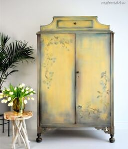 Beautiful hand painted antique wardrobe/armoire