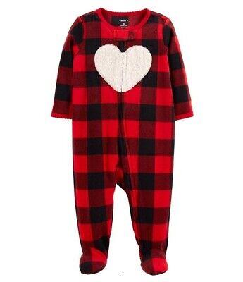 CARTER'S 1PC RED BUFFALO CHECK HEART GIRL BLANKET SLEEPER FLEECE PAJAMAS NB 3M Heart Blanket Sleeper