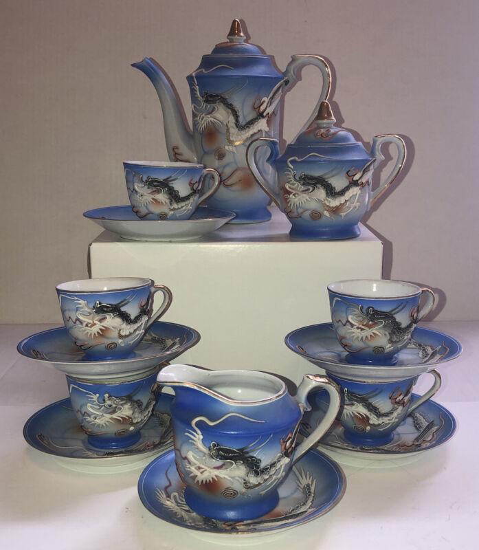 Betson Japanese Dragonware Blue Tea Set Hand Painted Moriage -14 Piece Set Japan