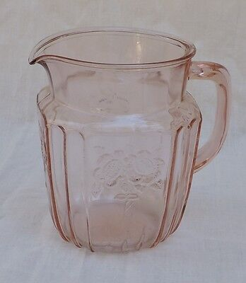 Anchor Hocking Pink Depression Glass Mayfair Open Rose 32 oz. small Pitcher