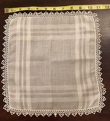 "Ladies Vintage Ivory Swiss Cotton Tatted Wedding Handkerchief Something Old 11"""