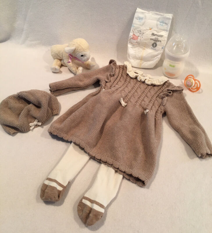 Reborn Baby Doll Knit Dress W/tights & Pacifier, Bottle & Accs