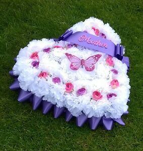 Artificial Flower Wreath Heart Shaped, Personalised, Funeral, Memorial