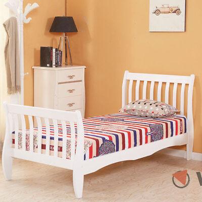 3ft Single Wooden Sleigh Bed Frame Pine Bedroom Furniture White Kids Girls Boys