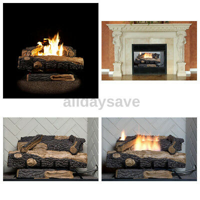 Vent Free Gas Fireplace - 24 in. Vent-Free Natural Gas Fireplace Logs Thermostat Control Heating Insert