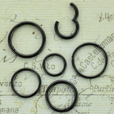 Black Hinged CBR Captive Bead Ring Stainless Steel Lip Nipple Earring
