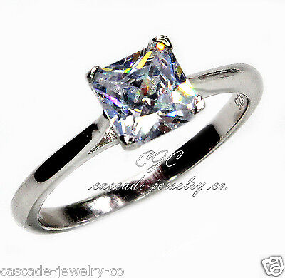 1ct Princess Engagement / Wedding Ring SOLID Sterling Silver Cubic Zirconia CZ (1 Ct Cubic Zirconia)