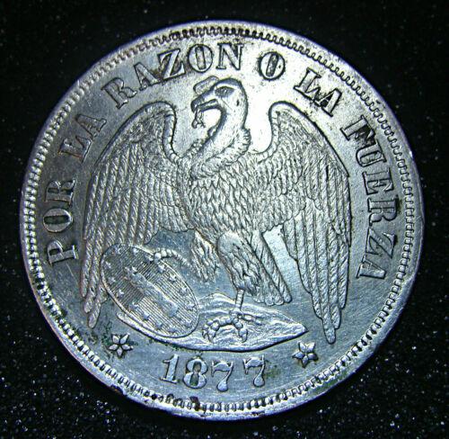 REPUBLIC CHILE 1877 SO (25 GRAM) UN (1) PESO SILVER COIN AU/MS KM# 142
