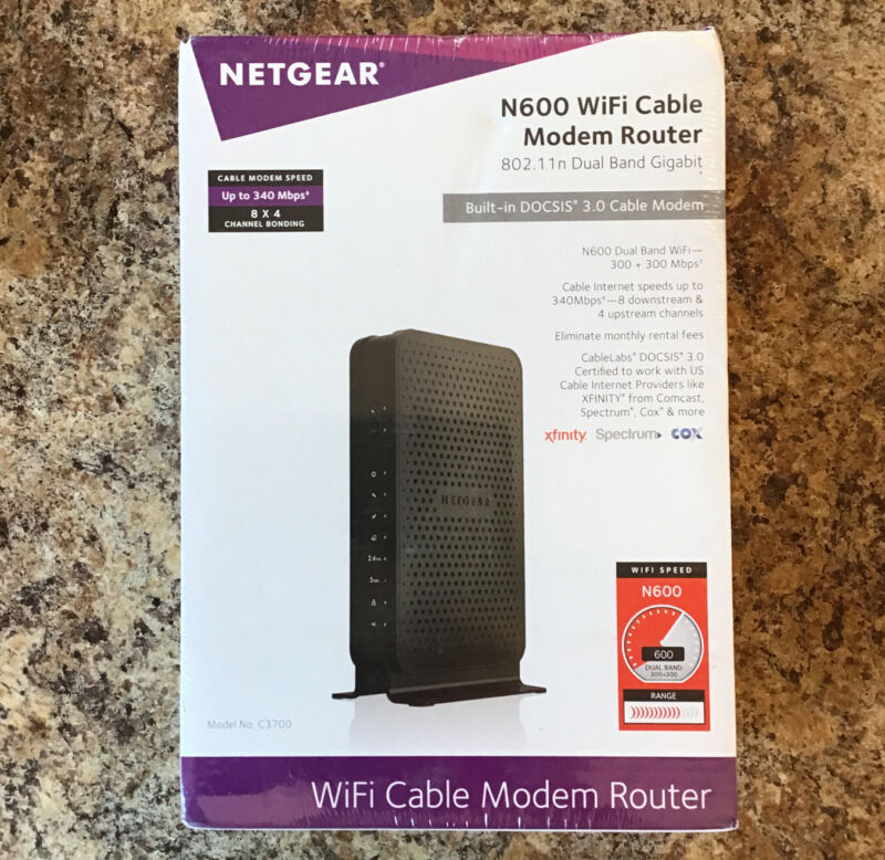 NEW Netgear N600 WiFi Cable Modem Router Combo DOCSIS 3.0 SEALED
