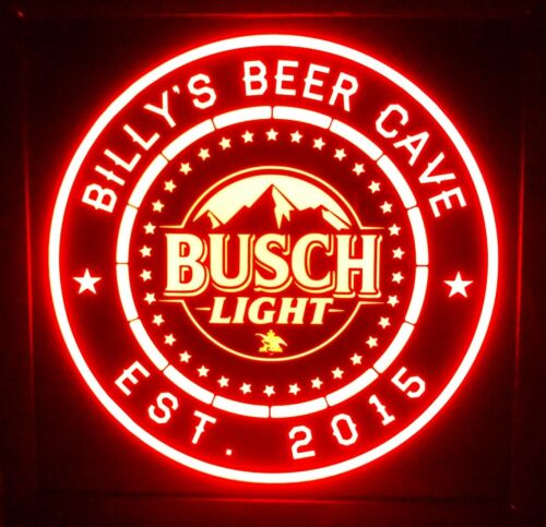 Busch light Beer LED Sign Personalized, Home bar pub Sign, Lighted Sign, man cav
