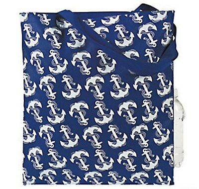 Lot of 12 NAVY NAUTICAL ANCHOR TOTE BAG Navy/White TOTE W/HA