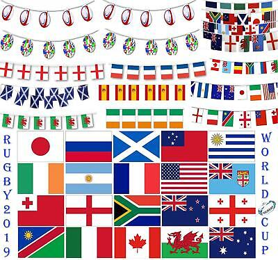 2019 Rugby Sports Cup World's Teams Country National Flags Bunting Decorations