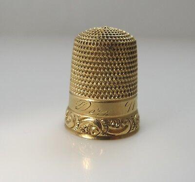 14k Yellow Gold Dora - ANTIQUE 14K YELLOW GOLD THIMBLE