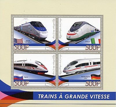 Congo 2015 MNH High-Speed Trains 4v M/S Amtrak Sapsan ICE Railways Stamps