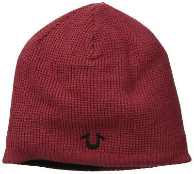 True Religion Jeans Reversible Waffle Knit Beanie Cherry Red Black TR1827 Reversible Waffle Knit Beanie