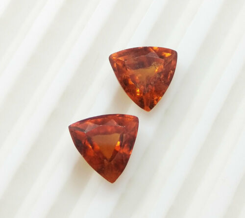 5.67 Ct Natural Hessonite Garnet Trillion Cut Gorgeous Matching Pair AAA Quality