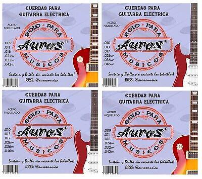 Pack 4 Juegos de Cuerdas AUROS para Guitarra Eléctrica Calibres 10/46 +...