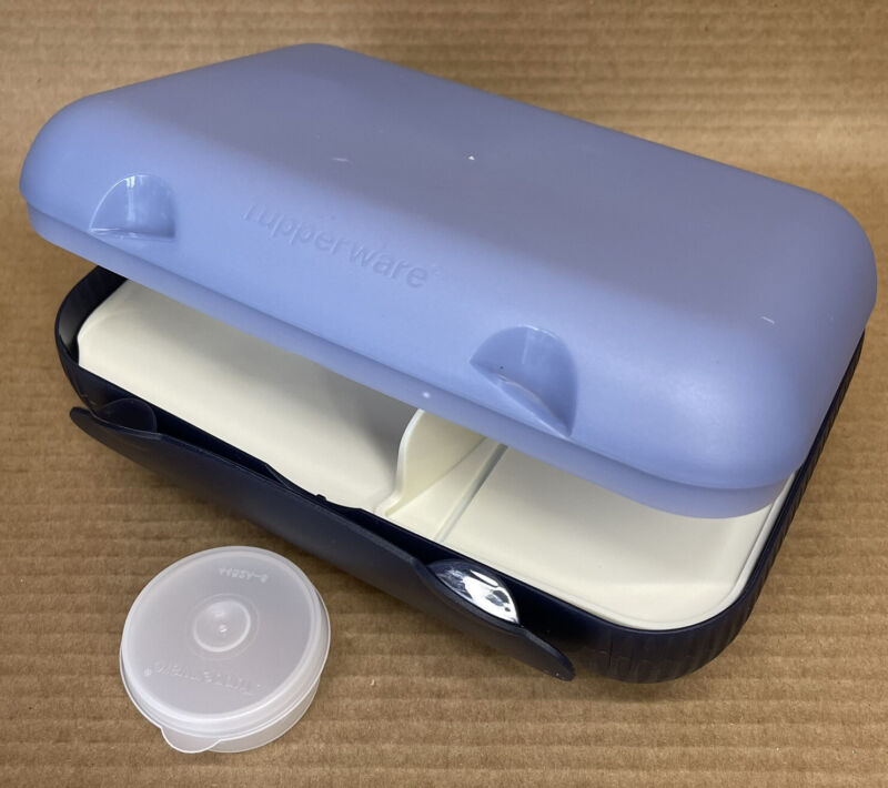 Tupperware At Lunch Box with Divider & Smidget #5140 Blue New