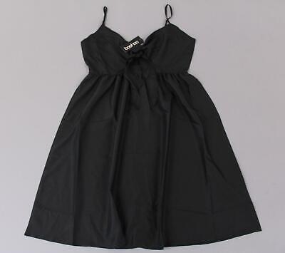 Boohoo Women's Plus Piper Knot Front Midi Skater Dress HD3 Black Size 12 NWT