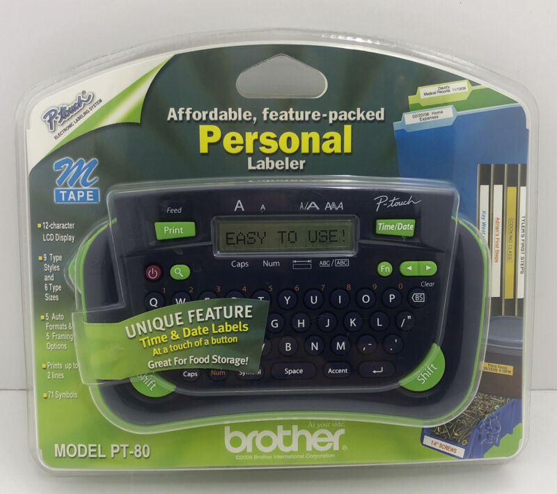 Brother P-Touch Model PT-80 Handheld Label Maker New Sealed FAST Shipping!