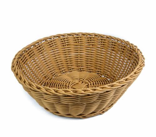 "KOVOT Poly-Wicker Round Basket - 10.5""D x 4""H Woven Polypropylene"