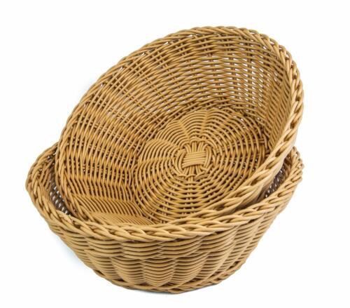 "KOVOT Poly-Wicker Round Basket - 10.5""D x 4""H Woven Polypropylene (2/Pack)"