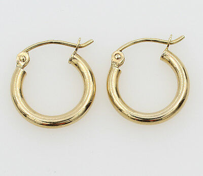 2mm Small Hoop Earrings (14K Yellow Gold 2mm Thick Small Classic Polished Hinged Hoop Earrings 11mm 7/16