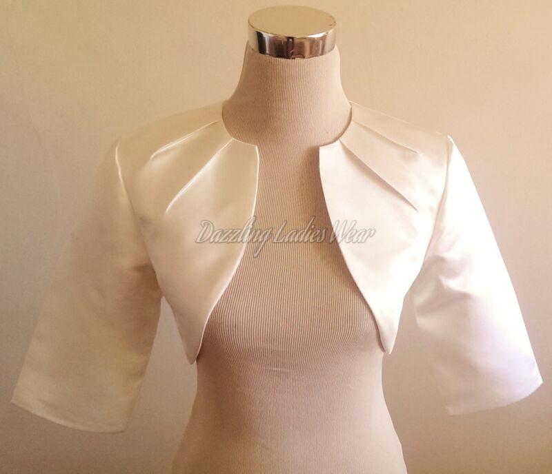 Ivory Satin Bolero/Shrug/cropped Jacket/Stole/Shawl/Wrap/Tippet 3/4 Pleated
