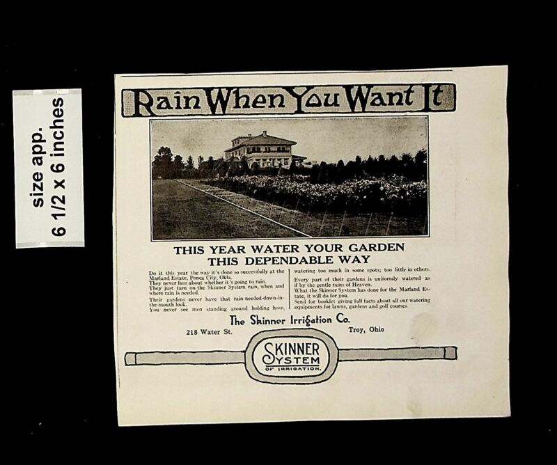 1921 Rain When you Want it Skinner Water Sprinkler System Vintage Print Ad 14025
