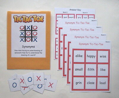 Teacher Made Literacy Center Learning Resource Game Synonym Tic-Tac-Toe (Game Synonym)