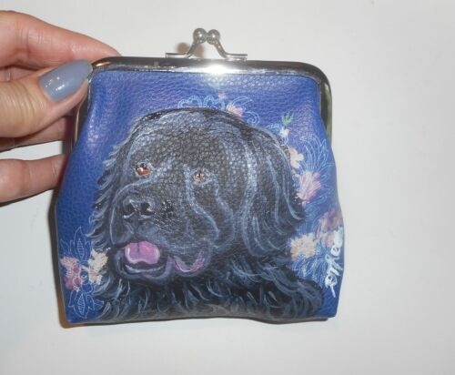 Newfoundland dog Hand Painted Leather Coin Purse Mini Clutch wallet Vegan