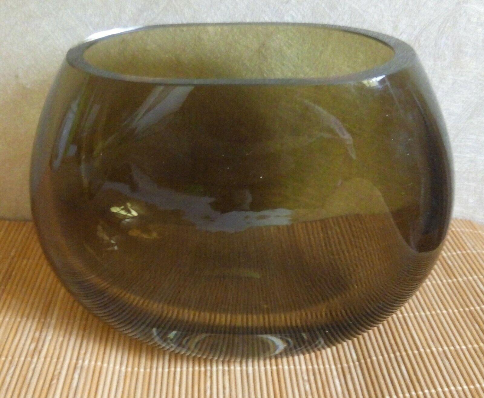 Vase Glasvase Rauchglas olivgrün oval