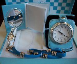 Women's Silver Finish Watch/Desk Clock,Book,Gold/Blue Bracelet Gift Set In Box