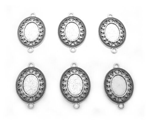 6 Antiqued Silvertone ARIA Style 18mm x 13mm CAMEO PENDANT CONNECTORS w/ 2 Loops