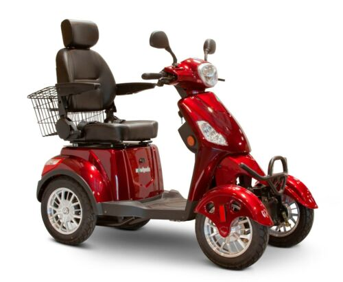 Red 4 Wheel Powerful Scooter, Ewheels Ew-46, 400 Lb Cap, Led Console & Lights