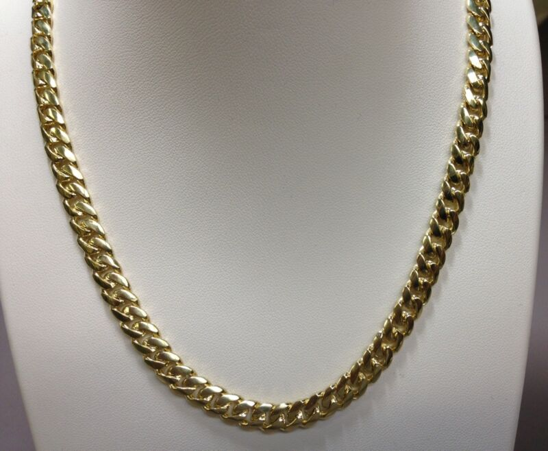 "18k Solid Yellow Gold Miami Cuban Curb Link 18"" 8 Mm 85 Grams Chain/necklace"