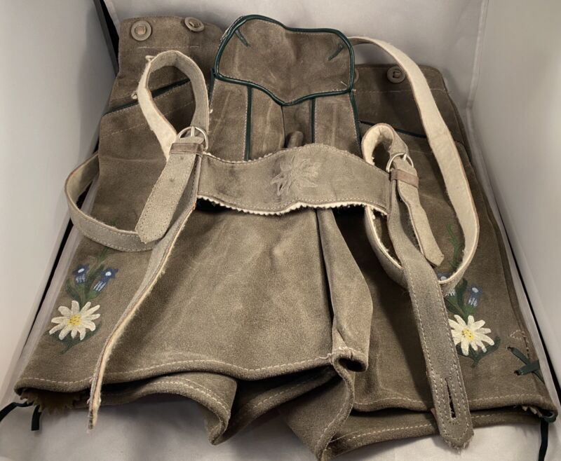 Vintage Leather German Style Lederhosen Shorts Pants Made in Austria Size 14