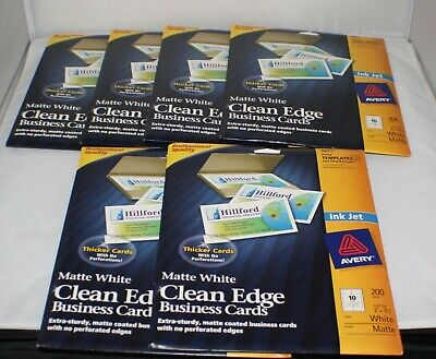 Avery Clean Edge Business Cards 8871 Matte White Ink Jet 2x3.5 Lot Of 6 Nip