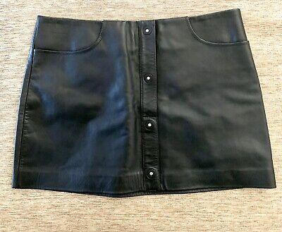 T Alexander Wang Women's Black Button Up Leather A Line Mini Skirt Size 0 Rare